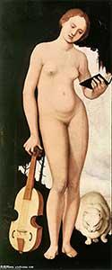 Ханс Бальдунг, прозванный Грин (1484/85—1545) Женщина с книгой нот, виолой да гамба и кошкой, 1529 Старая Пинакотека, Мюнхен